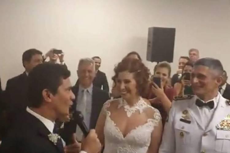 Moro fez discurso em homenagem ao casal Carla Zambelli e Aginaldo Oliveira em Brasília