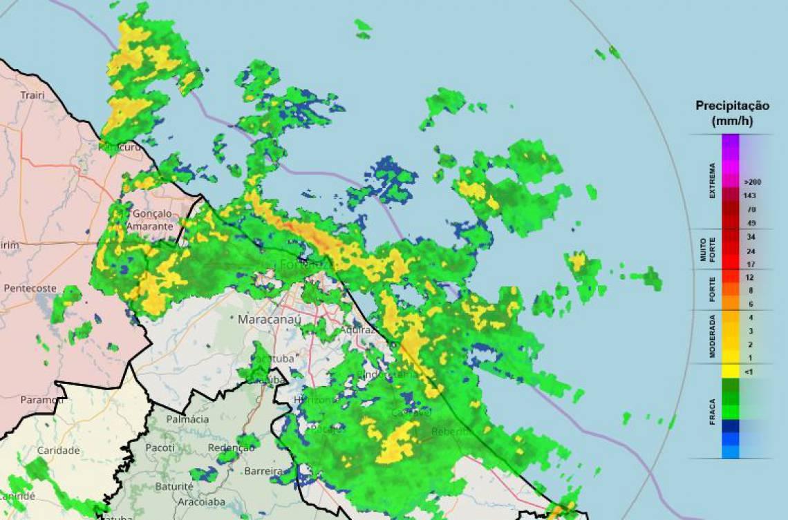 Radar mostra chuva em tempo real. Na capital, precipitações aumentaram a partir das 7 horas