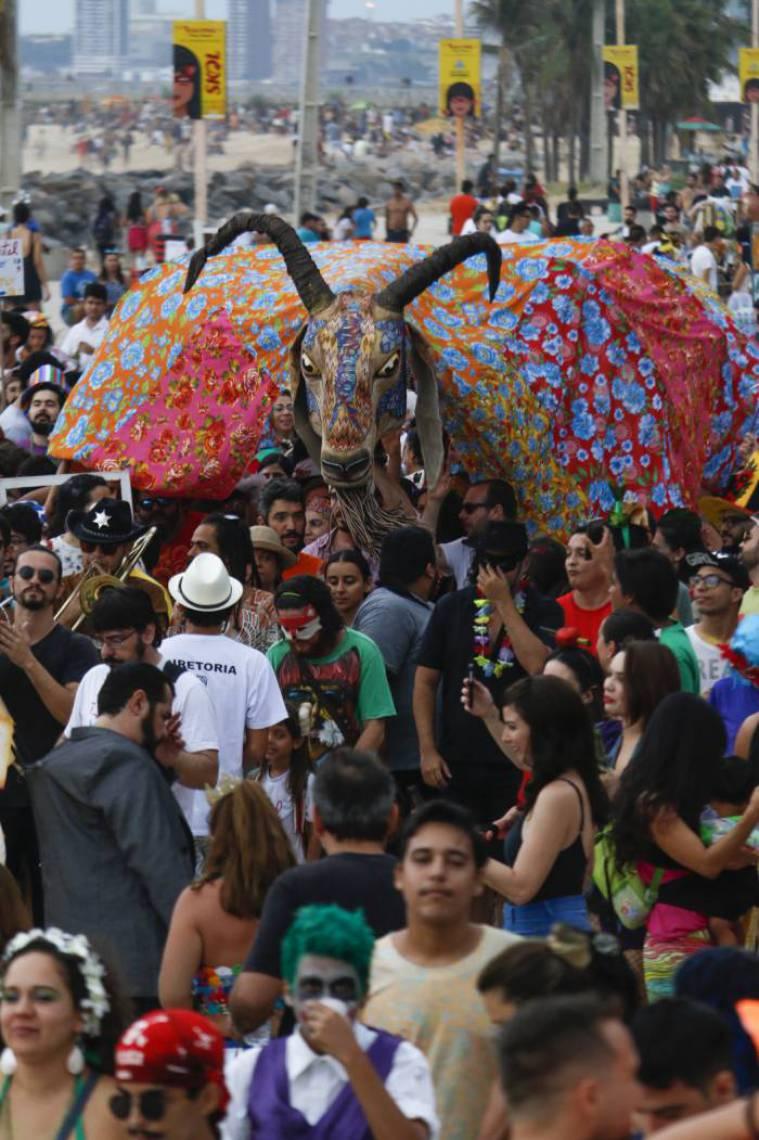 Estandarte do bloco Iracema Bode Beat no Carnaval 2018: cortejo do bloco na Praia de Iracema