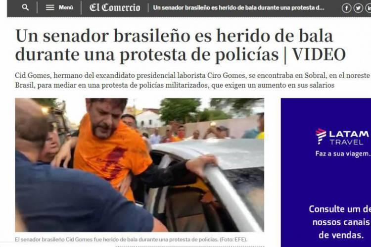 Jornal peruano El Comércio  mancheta ataque a Cid Gomes
