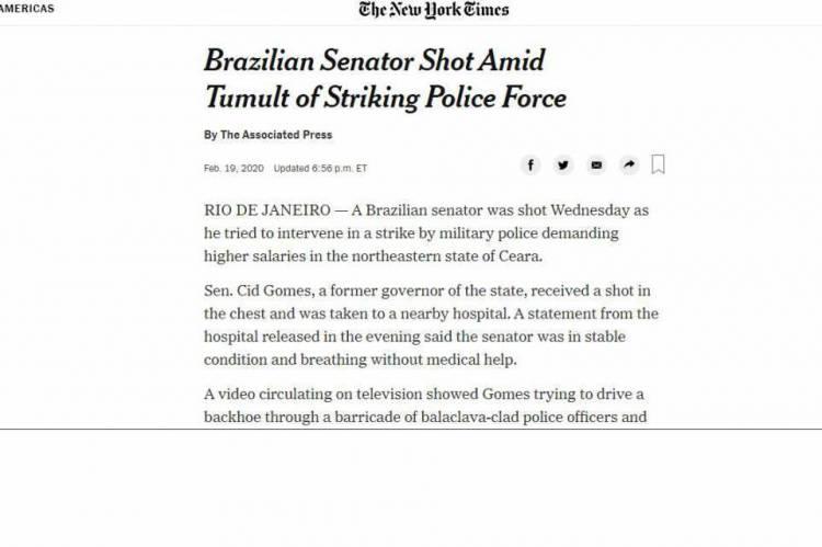 Jornal americano The New York Times mancheta ataque a Cid Gomes