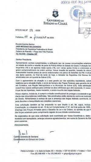 Ofício enviado pelo governador Camilo Santana ao presidente Jair Bolsonaro formalizando pedido de tropas militares para Garantia da Lei e da Ordem (GLO)