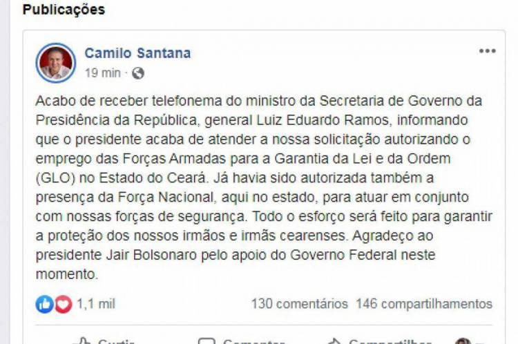 Camilo Santana postou informação no Facebook