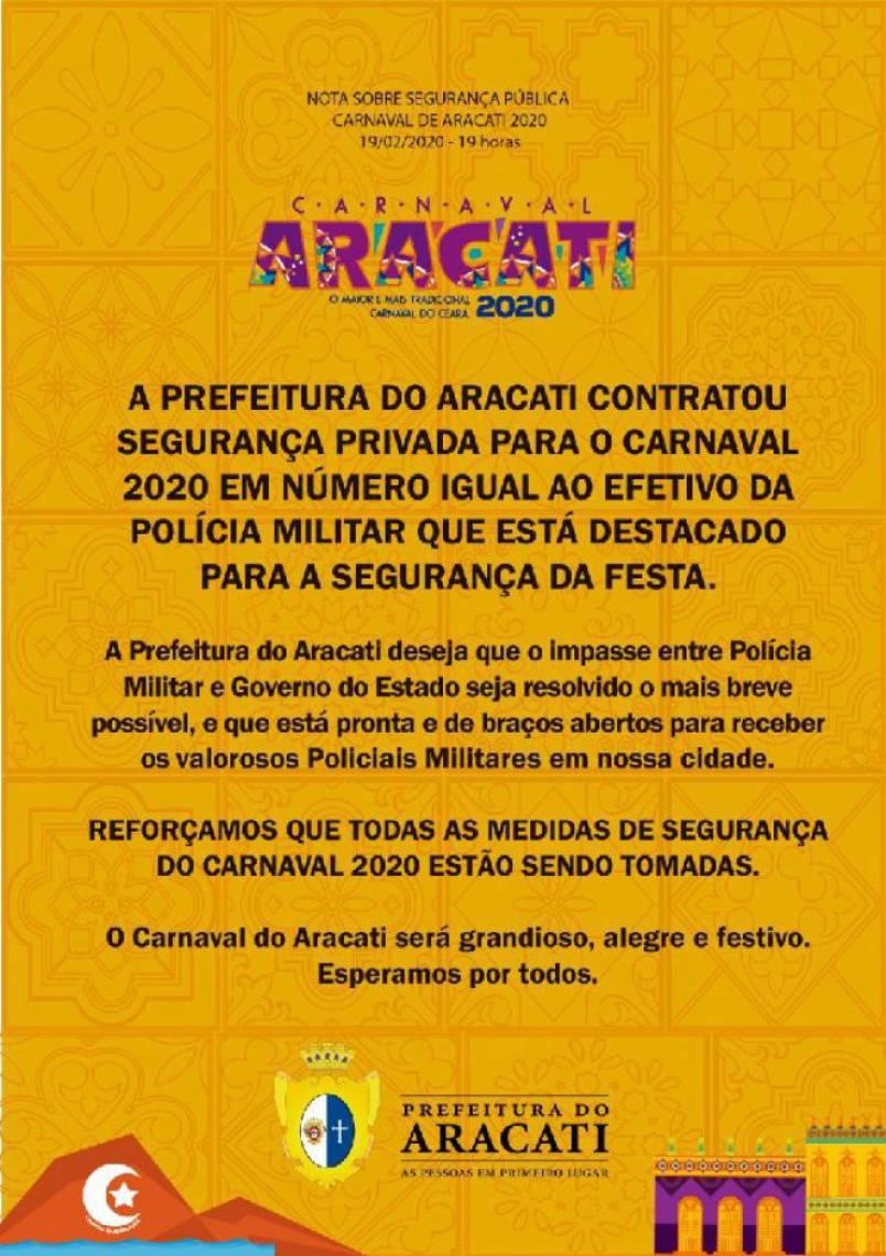 Aracati cancela as atrações para evitar novos casos de violência
