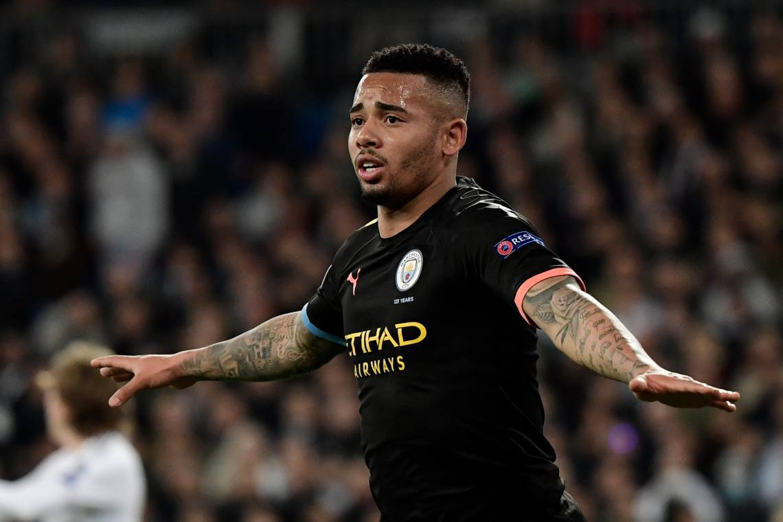 Manchester City's Brazilian striker Gabriel Jesus celebrates his goal during the UEFA Champions League round of 16 first-leg football match between Real Madrid CF and Manchester City at the Santiago Bernabeu stadium in Madrid on February 26, 2020. (Photo by JAVIER SORIANO / AFP)