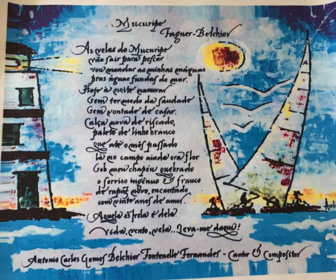 """Belchior e Audifax Rios – gravura telada. Letra de """"Mucuripe"""" escrita por Belchior e ilustração de Audifax Rios"""