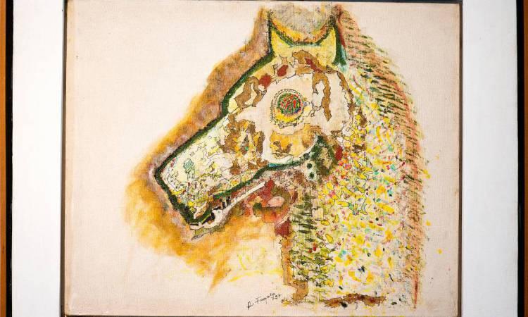 Cabeça de cavalo. Obra de Raimundo Fagner, serigrafia sobre papel
