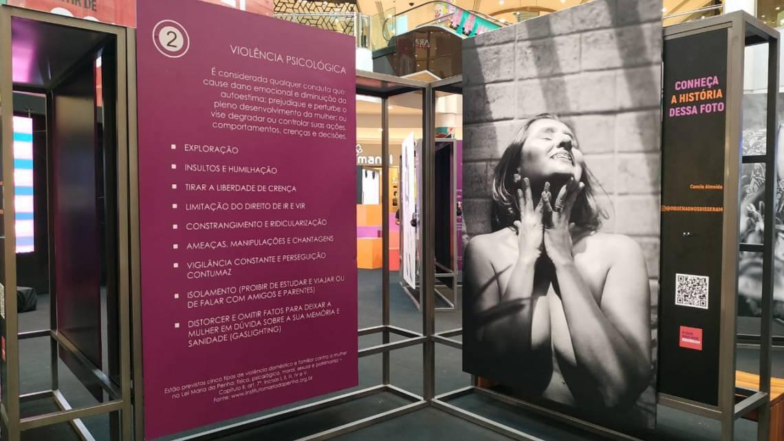 Exposição traz relatos e quadros didáticos sobre os tipos de violência praticadas contra o gênero