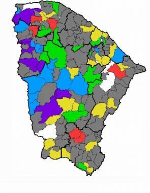 Mapa da Funceme para chuvas no Ceará entre sexta-feira, 13 de março, e sábado, 14