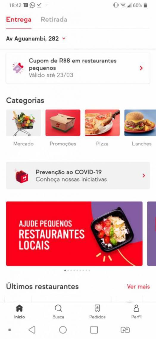 Interface de um dos aplicativos de compras