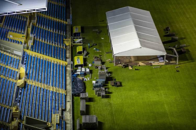 O Estádio Presidente Vargas vai ser um Hospital de Campanha para cuidar de casos de Covid-19, com 204 leitos e de 3,5 mil metros quadrado,  (Foto: Aurelio Alves/O POVO)