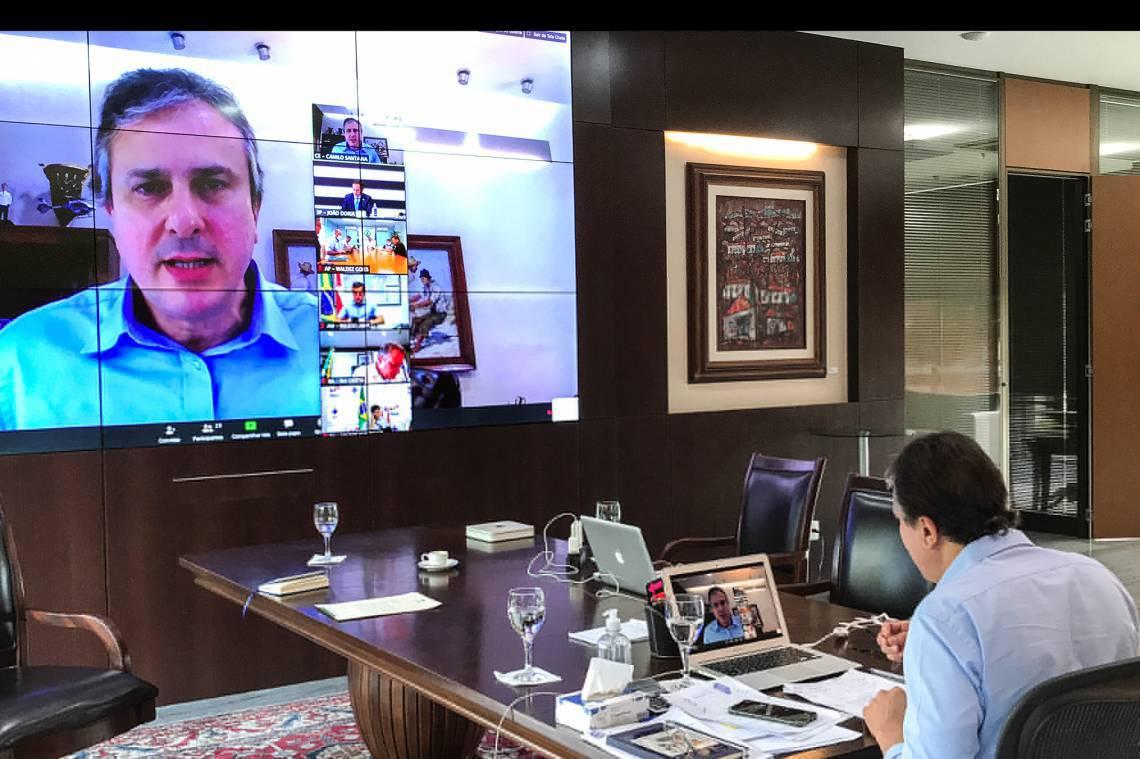 Fortaleza em 25 de março de 2020, O Governador do Ceará, Camilo Santana, realiza video conferencia com todos os governadores do país, no palácio iracema. (Foto Governo do Estado do Ceará)