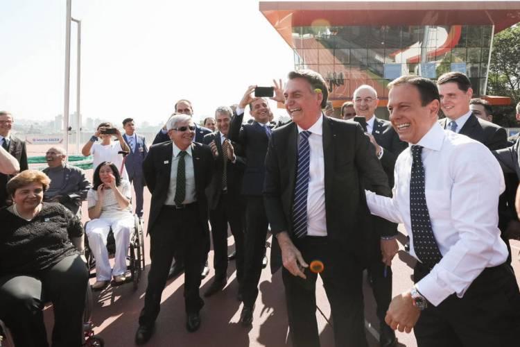 presidente Jair Bolsonaro o governador João Doria juntos em evento no início de 2019 (Foto: Marcos Corrêa/PR)