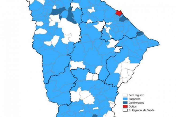 Mapa mostra a distribuição dos casos suspeitos, confirmados e óbitos por coronavírus no Ceará (Foto: Reprodução/Sesa)
