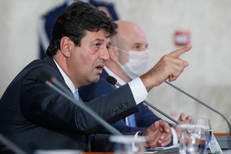 O Ministro da Saúde, Luiz Henrique Mandetta  durante coletiva de Imprensa. (Foto Isac Nóbrega/PR) (Foto: Isac Nóbrega/PR)