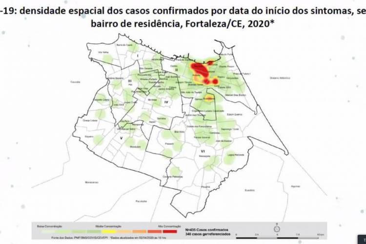 Maior parte dos infectados mora nos bairros Meireles, Aldeota, Mucuripe, Cocó e Guararapes (Foto: Divulgação/Sesa)