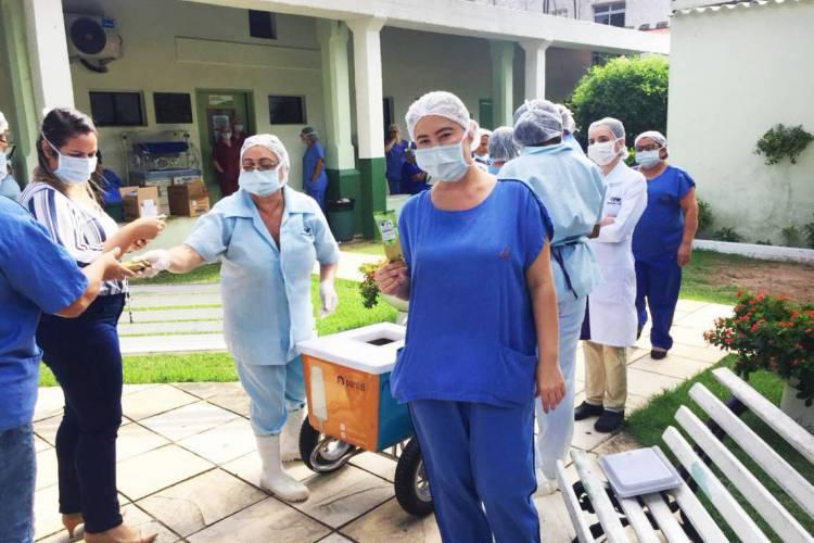Ação foi realizada em quatro hospitais da cidade que atendem pacientes com covid-19 (Foto: Divulgação/Pardal Sorvetes)