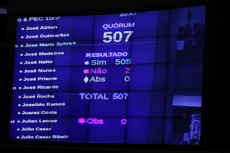 PEC foi aprovada em primeiro turno com 505 votos a favor e dois contra (Foto: Cleia Viana / Câmara dos Deputados)