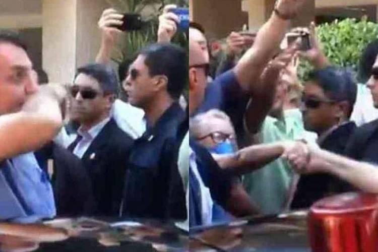 BOLSONARO culpou jornalistas pela aglomeração (Foto: Reprodução)