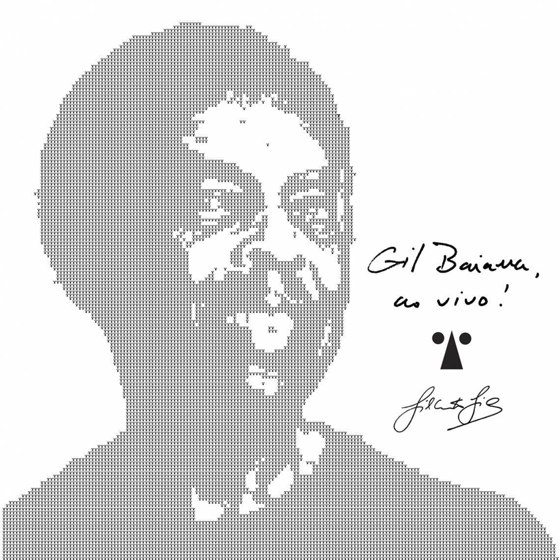 O projeto gráfico do disco Gil Baiana é de Cartaxo, com ilustração sobre foto de Daryan Dornelles