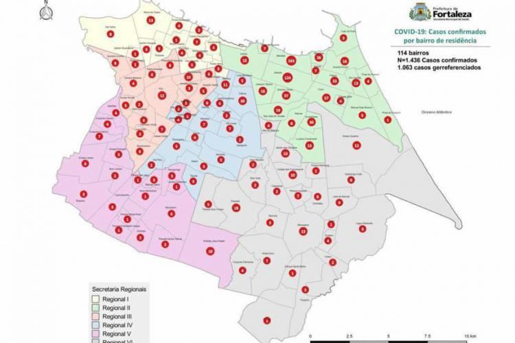 Mapa de distribuição dos casos de coronavírus por bairros de Fortaleza (Foto: Reprodução/Twitter)