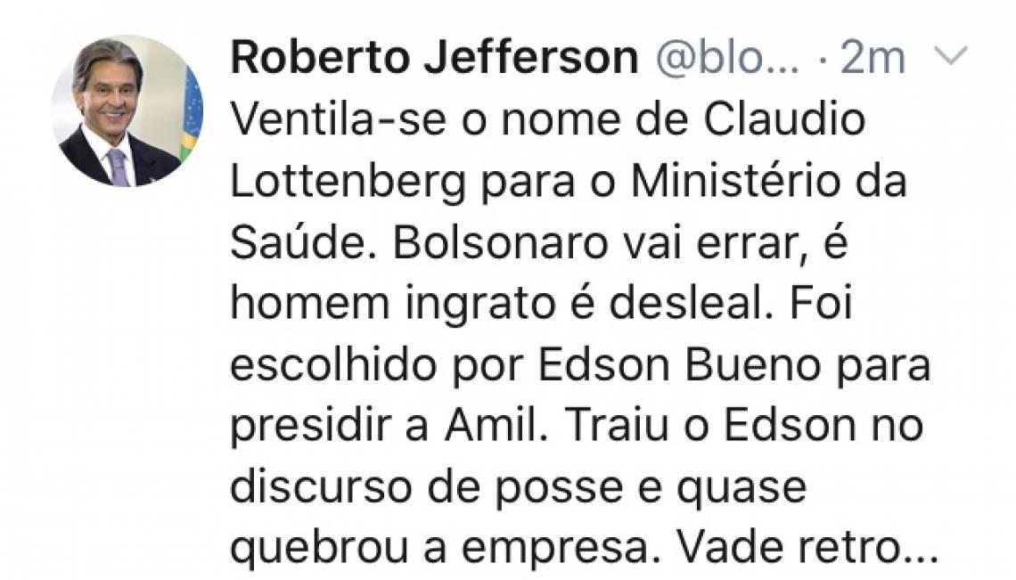 Roberto Jefferson atacou Cláudio Lottenberg em postagem nesta quarta-feira à tarde