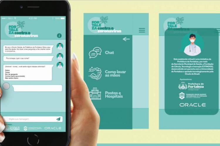 A ferramenta inicia um chat automaticamente com quem deseja informações da Covid-19 (Foto: Divulgação/Prefeitura de Fortaleza)