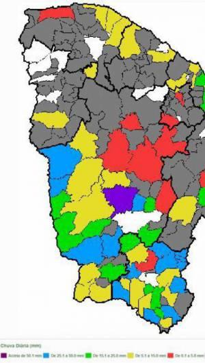 Mapa mostra chuvas no Ceará entre essa sexta e hoje, sábado
