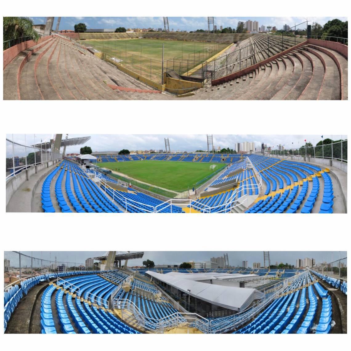 Veja as mudanças no estádio Presidente Vargas que neste sábado, 18, passou a funcionar como hospital de campanha contra a Covid-19 (Fotos: Fábio Lima / O POVO)