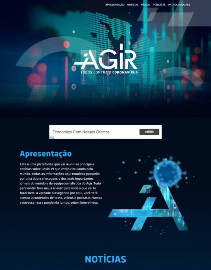 SITE do projeto Agir reúne webdocs, podcasts, webinars e materiais didáticos (Foto: Reprodução)