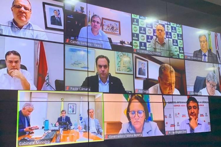 Reunião virtual entre os governadores do Nordeste e o ministro da Saúde (Foto: Reprodução / Facebook)