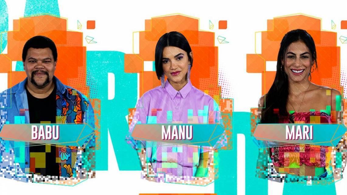Manu, Mari e Babu estão no paredão do BBB 20. Parcial indica eliminação da cantora. Vote na enquete