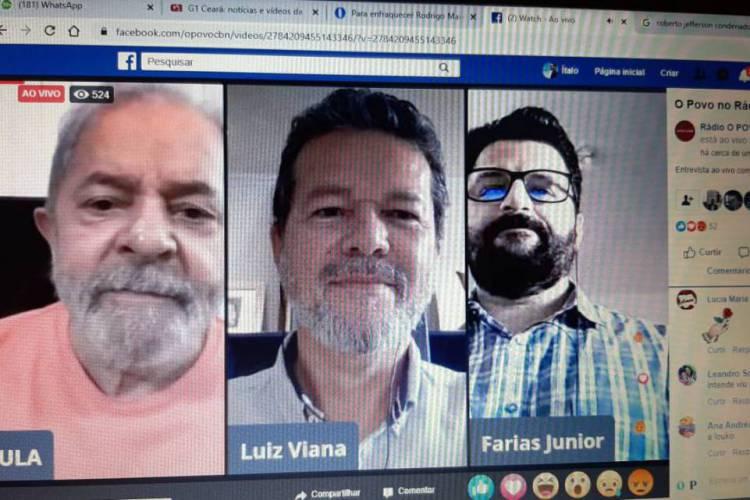 Ex-presidente concedeu entrevista aos jornalistas Luiz Viana, da Rádio O POVO CBN, e Farias Júnior, da rádio CBN Cariri (Foto: Reprodução/ Facebook)