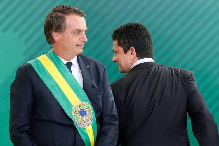Bolsonaro e Moro no dia da posse, em 1º de janeiro de 2019