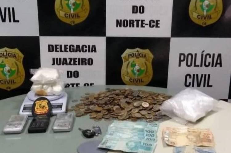 Casal portava pacotes de cocaína e foi preso em flagrante em Juazeiro do Norte