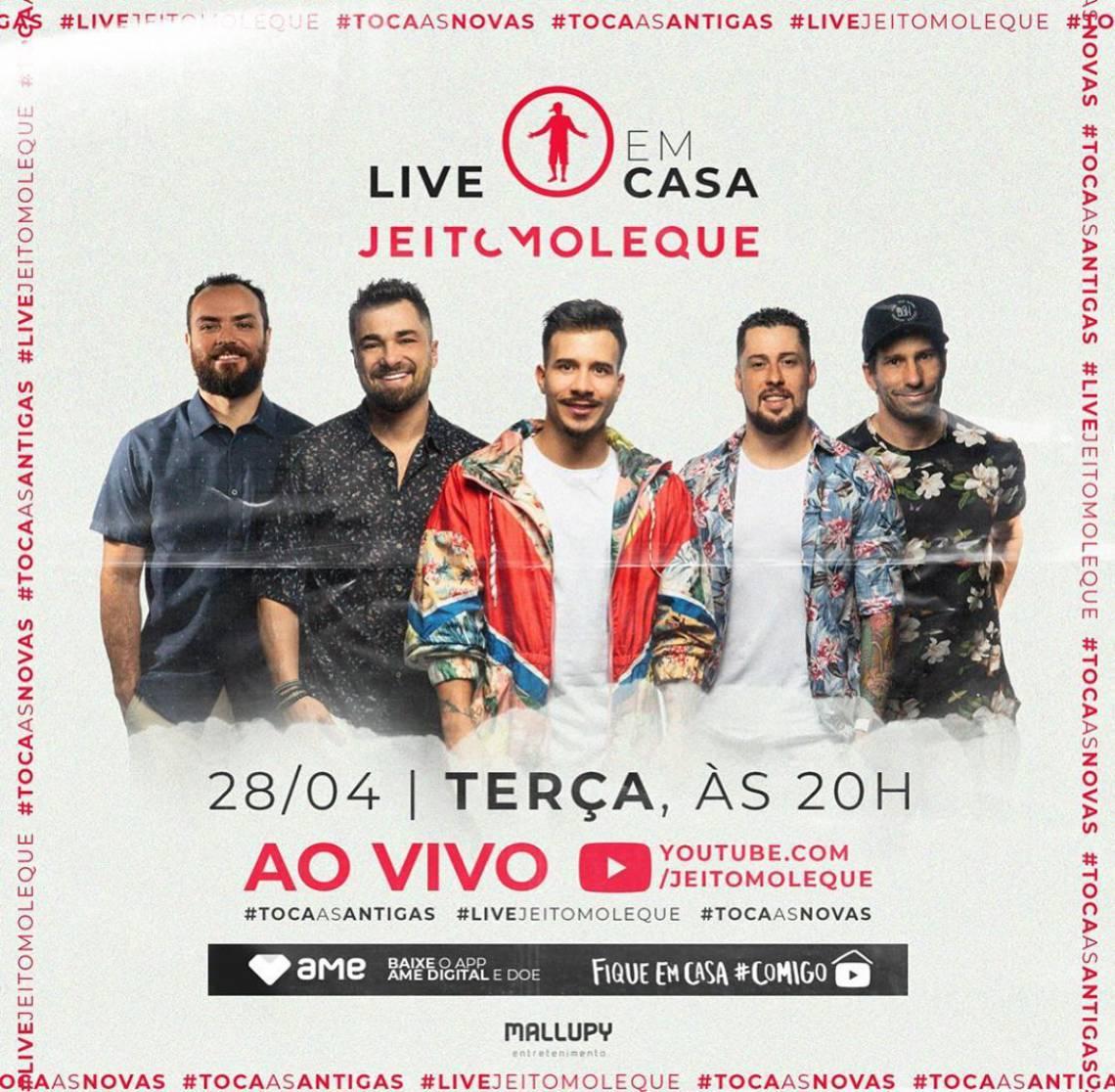 Acompanhe a agenda de transmissões ao vivo online - live - de artistas nacionais e internacionais para hoje, terça-feira, 28 de abril (28/04); grupo Jeito Moleque é uma das atrações da noite