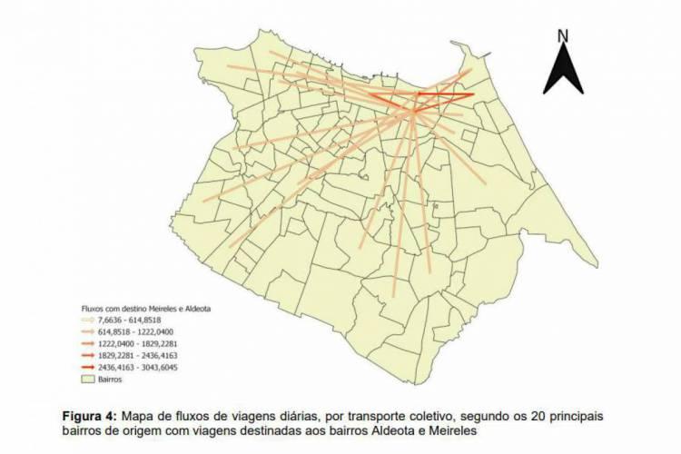 Mapa demonstra o fluxo dos 20 bairros principais com destino aos bairros Aldeota e Meireles. (Foto: Divulgação)