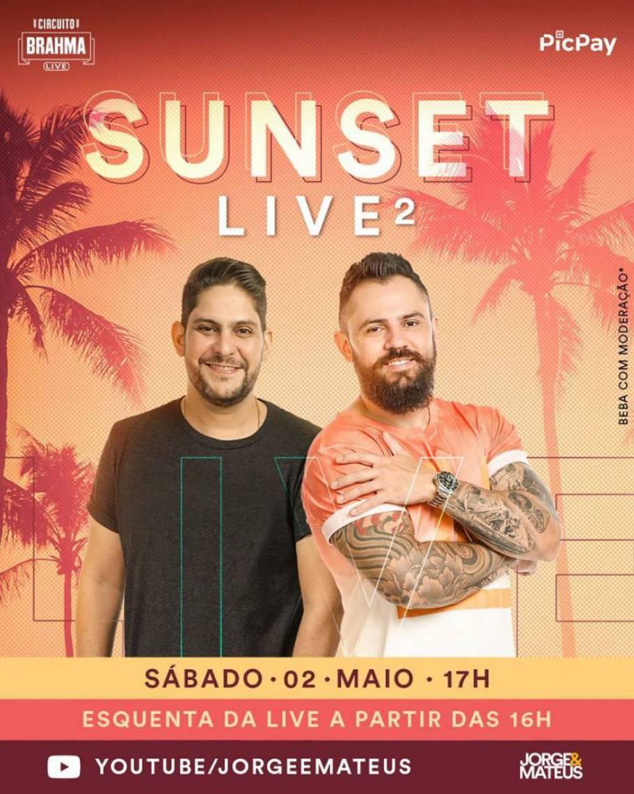 Acompanhe a agenda de transmissões ao vivo online - live - de artistas nacionais e internacionais para hoje, sábado, 2 de maio (02/05); dupla Jorge e Mateus é uma das atrações da noite