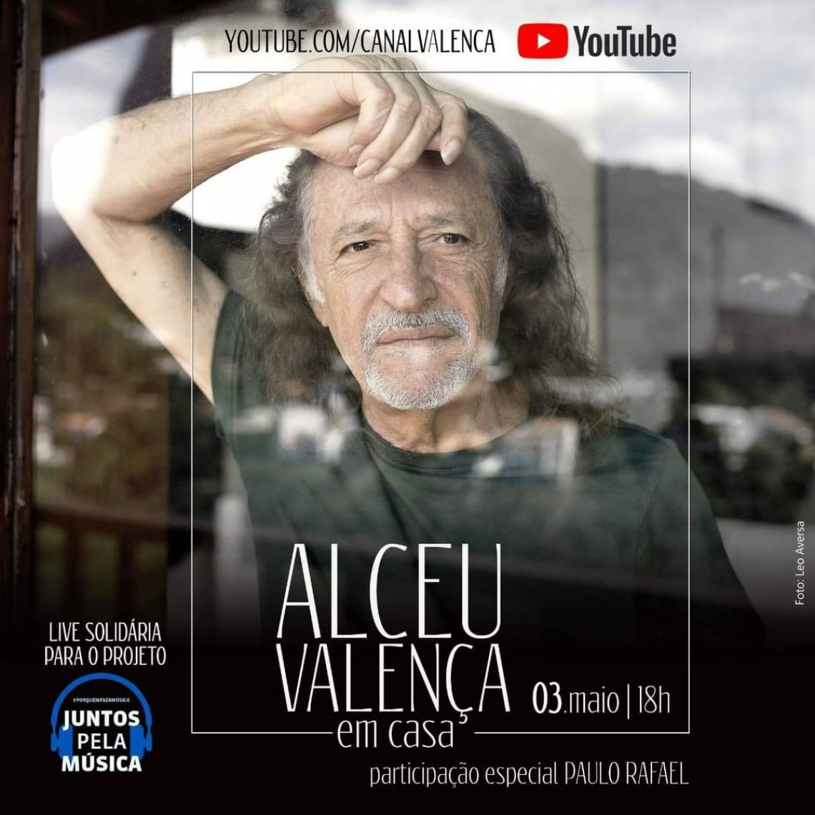 Acompanhe a agenda de transmissões ao vivo online - live - de artistas nacionais e internacionais para hoje, domingo, 3 de maio (03/05); Alceu Valença é uma das atrações da noite