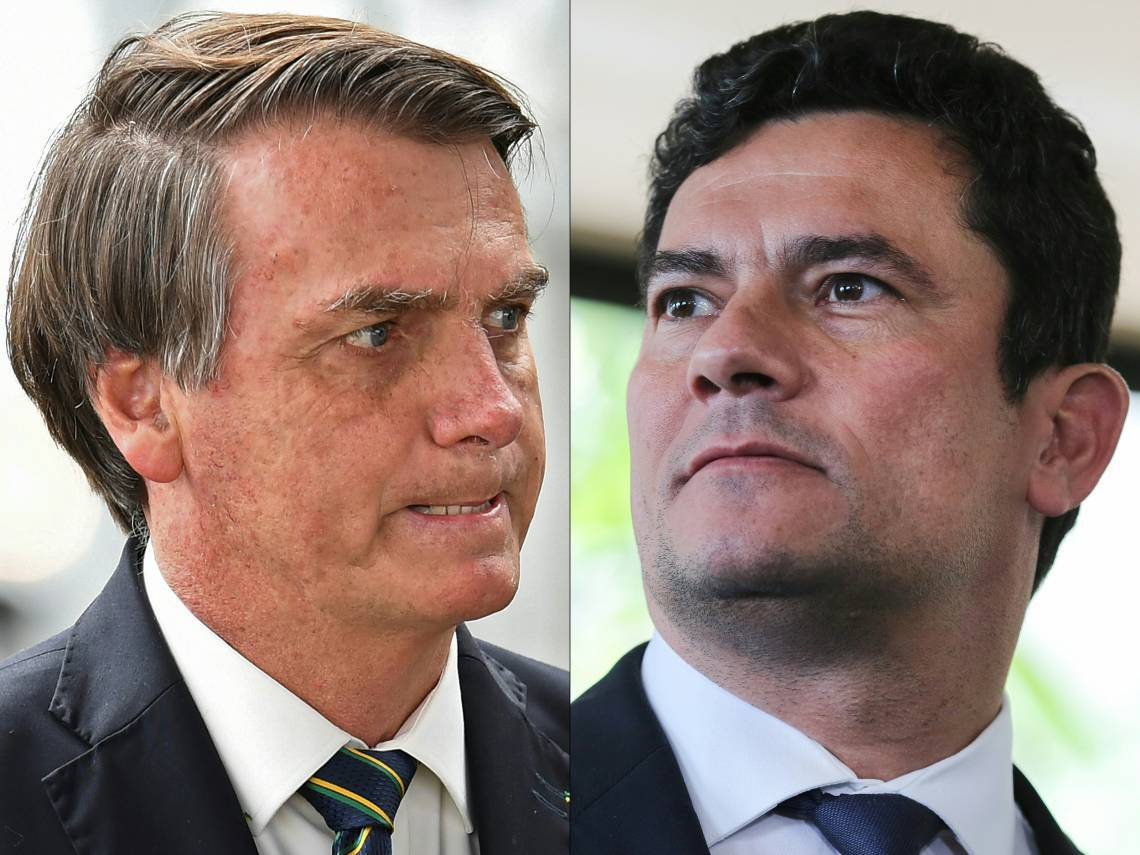 (FILES) In this file combination of pictures created on April 24, 2020, Brazilian President Jair Bolsonaro (L) gestures as he leaves Alvorada Palace in Brasilia on April 14, 2020 and Brazilian Judge Sergio Moro leaves the Supreme Court of Justice after having lunch with Brazilian president-elect Jair Bolsonaro and court ministers in Brasilia on November 7, 2018. - Brazilian supreme court judge Celso de Mello on April 27, 2020 ordered an investigation into accusations by ex-justice and security minister Sergio Moro that President Jair Bolsonaro sought to