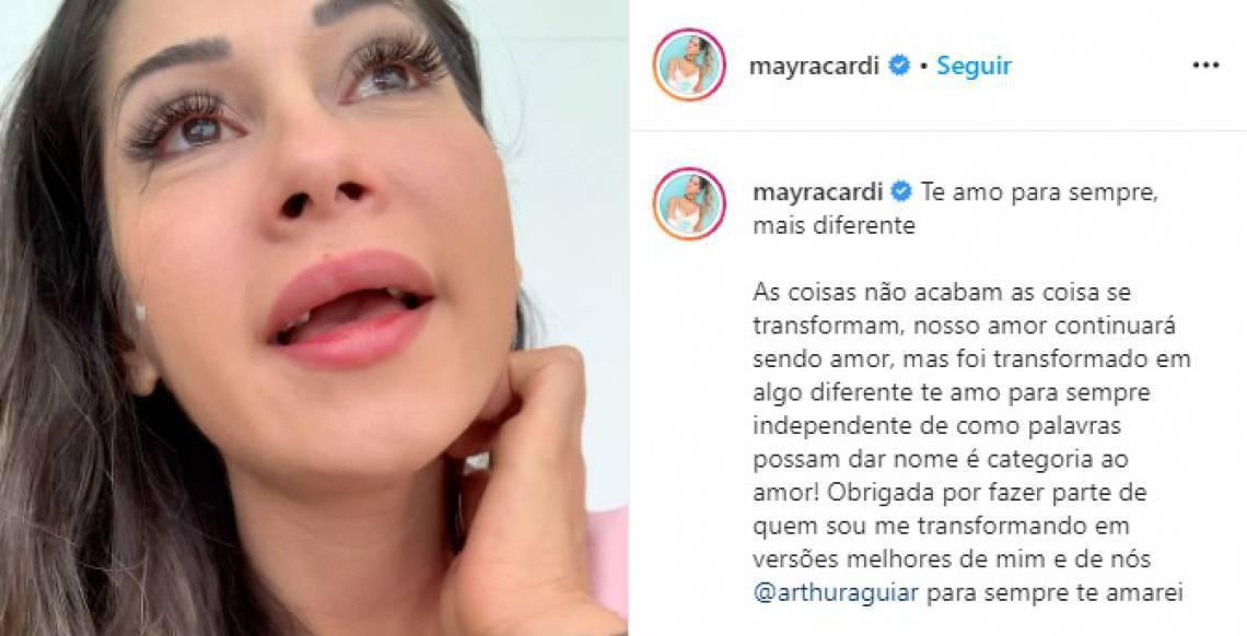 A influencer Mayra Cardi se manifestou sobre a separação pelas redes sociais
