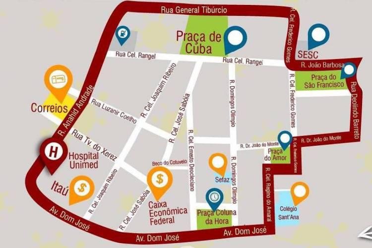 Centro da cidade terá perímetro de bloqueio onde não será permitida circulação de veículos, exceto para serviços essenciais (Foto: Reprodução/Prefeitura de Sobral)