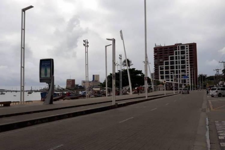 Mercado dos Peixes foi alvo da Polícia no segundo dia de lockdown em Fortaleza (Foto: Divulgação/ SSPDS)