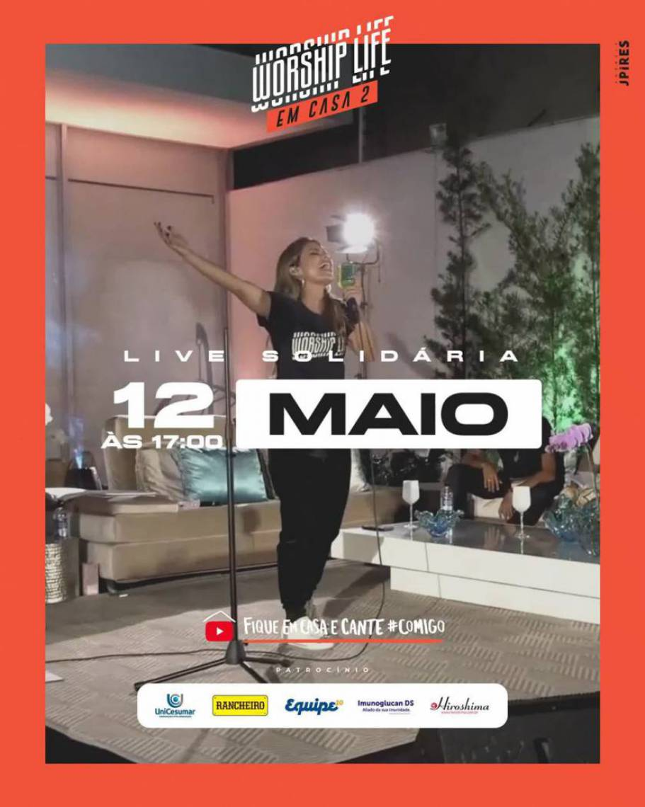 Acompanhe a agenda de transmissões ao vivo online - live - de artistas nacionais e internacionais para hoje, terça-feira, 12 de maio (12/05); cantora gospel Aline Barros é uma das atrações da noite