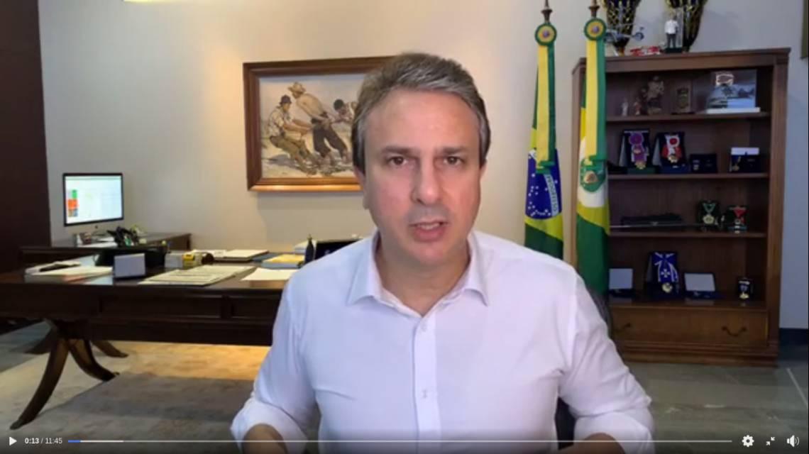 GOVERNADOR destacou a vigência no Estado do decreto que proíbe aglomerações de pessoas (Foto: Reprodução Facebook Camilo Santana)