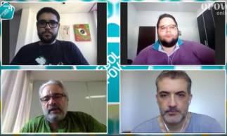Mauro Carmélio conversa com jornalistas Fernando Graziani, Brenno Rebouças e Lucas Mota no Futebol do Povo