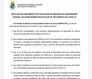 UFC desmente informação sobre recomendações de hidroxcloroquina no tratamento da Covid-19