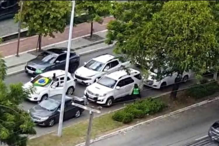 Carreata seguia por três bairros da Capital quando foi interceptada pela Polícia (Foto: Reprodução/SSPDS)