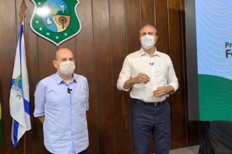 Camilo Santana e Roberto Cláudio anunciam regras de isolamento social no Ceará no dia 20 de maio (20/05) (Foto: Reprodução/vídeo)