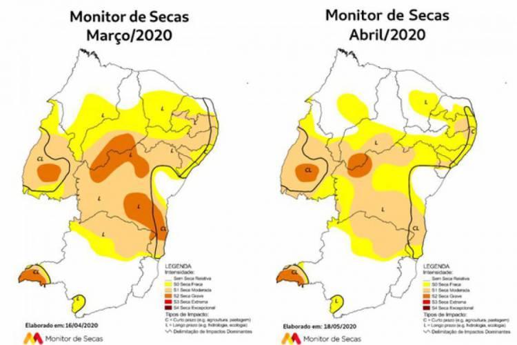 Mapas comparativos do Monitor de Secas indicam melhoria nas condições entre 18 abril (à esquerda) e 18 de maio (à direita) (Foto: Reprodução/Funceme)